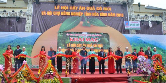Khai mạc Lễ hội cây ăn quả có múi và Hội chợ nông nghiệp tỉnh Hòa Bình năm 2018